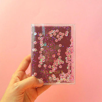 Vegan passport cover, mermaid passport, pink cover for passport, glitter passport cover, gift for mermaid, gift for traveler, vinyl cover