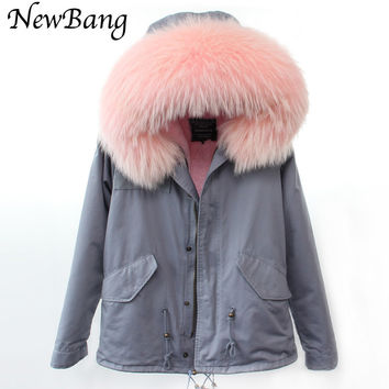 Parkas For Women Winter With Real Large Raccoon Fur Hood Thick Parka Coats Of Fur 2 in 1 Detachable Lining