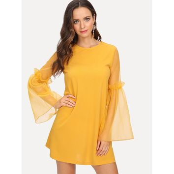 Frilled Sheer Bell Sleeve Tunic Dress