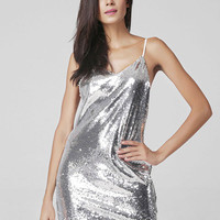 Liquid Silver Sequin Dress - Back In