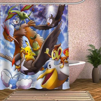 Pokemon Shower Curtain Eco-friendly Modern Fabric polyester