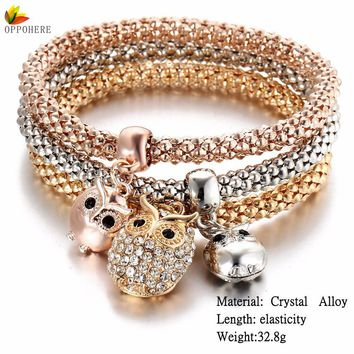 OPPOHERE 17 Styles Hot Shining 3PCS/Set Crystal Owl Butterfuly Crown Anchor Bracelet Elastic Heart Wristband For Women Lot