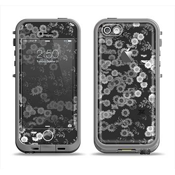 The Small Black and White Flower Sprouts Apple iPhone 5c LifeProof Fre Case Skin Set
