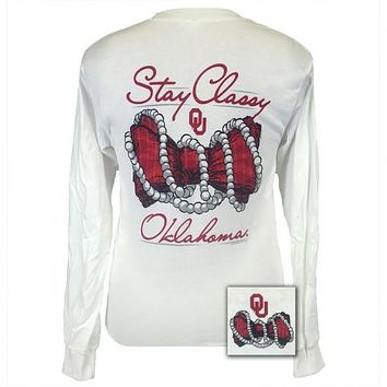Oklahoma Sooners Stay Classy Pearls Long Sleeves T-Shirt