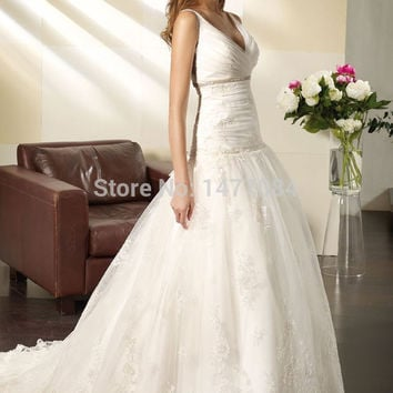 Sexy Open Back Lace Wedding Dresses V Neck Corset Bridal Ball Gowns For Women 2015 High Quality