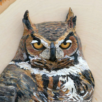 Great Horned Owl Original Bird Sculpture of Polymer Clay Mounted on Wooden Plaque Wild Bird Art Woodland Home Decor