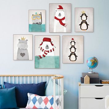 Triptych Modern Nordic Kawaii Animals Bear Hippo Penguins Poster Print Wall Art Picture Canvas Painting Kids Room Decor No Frame