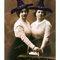 Witches Halloween Printable Hats Spellbook Vintage Photo Image Transfer Instant Download Home Decor Mini Albums Iron Ons Junk Journals