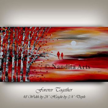"Painting, 48"" Love Bird Red Landscape Painting, Tree Art, Wedding Gift for Couple Love Birds Art Modern Painting, Anniversary Gift, Nandita"