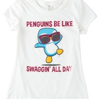 Hybrid Big Girls Penguin Swag T-Shirt Medium White