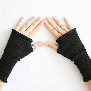 Black Fingerless mittens glove, Knit black fingerles gloves, Boho fingerless gloves, black arm warmers