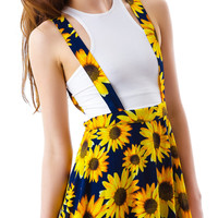 Moon Collection Sunflower Garden Suspender Skirt Navy/Yellow