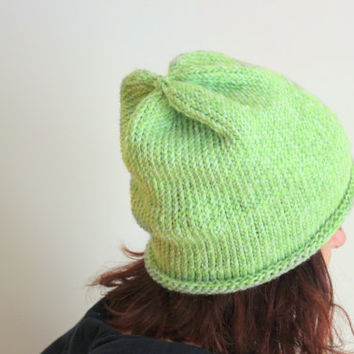 Spring and Summer Beanie, Green Beanie, Knit Hat, Slouchy Knit Beanie, Gifts for Her, Teens, Accessories, Boho Beanie, Hipster