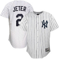 Derek Jeter New York Yankees #2 Majestic Replica Jersey - White Pinstripe