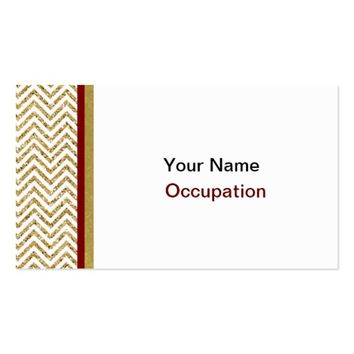 Gold and White Chevron Stripes With Red Stripe Business Card