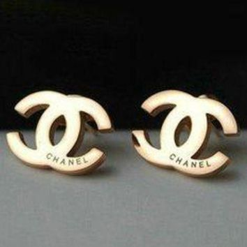 Women Girls Chanel Fashion Gold Earrings