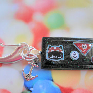 Resin Nautical Pirate Cat Key Chain with Silver Tone Clasp