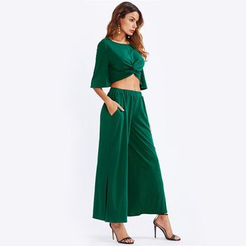 Fashion  Sleeve Crop Top With Slit Palazzo Pants Set Party Womens Sets Two Piece