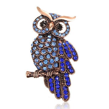Vintage Alloy Crystal Owl Brooch