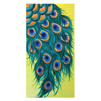 Wall Art for Office, PEACOCK FEATHERS, 12x24 Acrylic Canvas, Art for Home