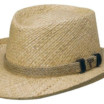 Raffia Straw Gambler with Jute by Scala