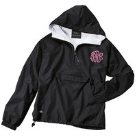 Monogrammed Pullover Rain Jacket - Half-Zip Personalized Windbrewaker - 1/4 Zip Monogrammed Jacket With Option For Hood Monogram