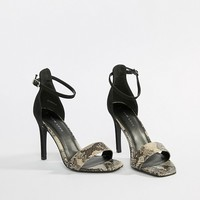New Look Animal Print Heeled Sandals at asos.com