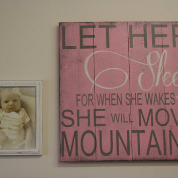 Let Her Sleep Nursery Wallhanging Pink Nursery Decor Wood Nursery Sign Pallet Sign Distressed Wood Baby Gift Baby Shower Gift Shabby Chic