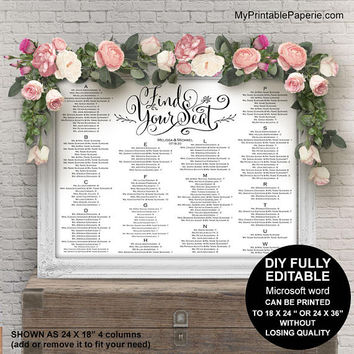 Wedding seating chart alphabetical, wedding seating chart poster, seating chart sign, printable, template, DIY, table number, whimsical