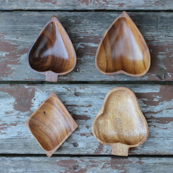 Vintage Set of 4 Small Wood Bowls, Candy Dishes | Made in Hawaii | Monkey Pod Wood | Full Suit Shape | 50s Man Cave | Retro Home Decor