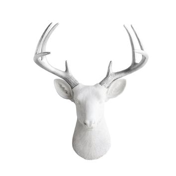 The Virginia | Large Deer Head | Faux Taxidermy | White + Silver Antlers Resin