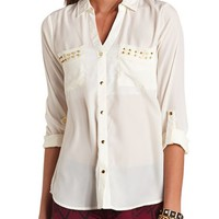 STUDDED POCKET WOVEN BLOUSE
