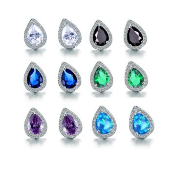 ON SALE - Zirconia Pear Halo Stud Earrings - Six Gemstone Colors