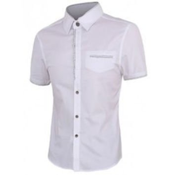 Personality Button Fly Shirt Collar Short Sleeves Shirt For Men
