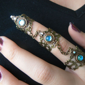 triple armor ring bohemian chic ring claw ring knuckle ring statement ring