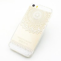 Clear Plastic Case Cover for Apple Iphone 5 5s 5c (Henna) Mandala Sun Lace Tribal Vintage (For iphone 5c)