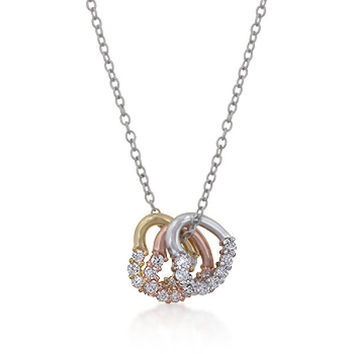 Willow 3ct CZ Tri Tone Triple Heart Necklace