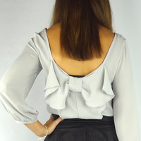 Bow Back Blouse - Silver Gray | .H.C.B.
