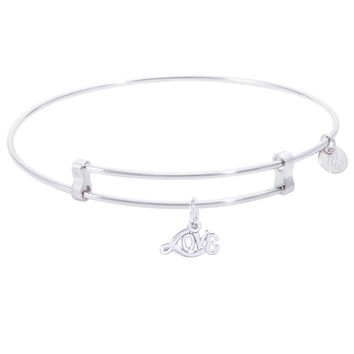 Sterling Silver Confident Bangle Bracelet With Love Charm