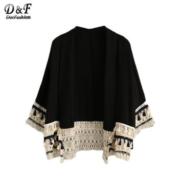 Dotfashion Summer Beach Wear Boho Loose Tops 2018 Women Tassel Trimmed Long Sleeve V Neck Color Block Open Front Kimono