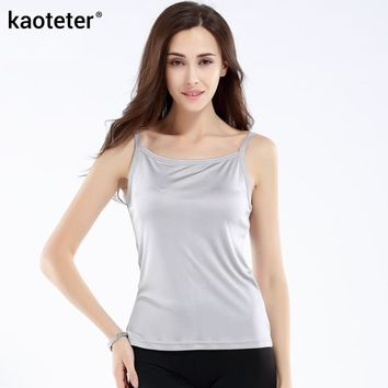 100% Pure Silk Women's Camis Simple Women Camisole Female Slim Halter Tops Woman Knitted Silk Ladies Wild Solid
