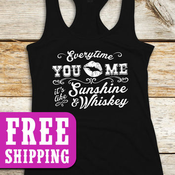 Sunshine & Whiskey, Country Tank, Country TShirt, Country top, Country Music T-Shirt, Southern Girl, Whiskey, Country Concert, FREE SHIPPING