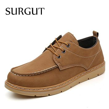 SURGUT Brand Men Dress Business New 2017 PU Leather Casual Shoes Men Oxfords Fashion Lace Up Platform Work Men Shoes Sapatos