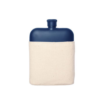 IZOLA NAVY 6 OZ FLASK WITH CANVAS CARRIER