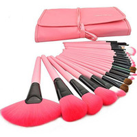 JUJU® 24pcs Natural Animal Hair Soft Wool Cosmetic Makeup Brushes Eyeshadow Set Kit +PU Bag (24PCS Pink)