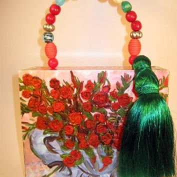 Cigar box purse with bead handle and decoupage roses