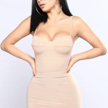 Going To The After Party Bodysuit - Nude