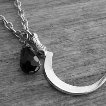 Scythe Necklace Scythe Jewelry The Grim Reaper Victorian Gothic Goth Sickle Necklace Sickle Jewelry Death Macabre Heavy Metal Silver Scythe