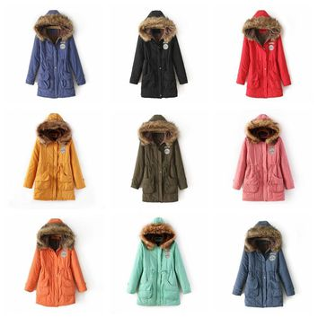 Fashion Women Thick Cotton-Pad Warm Overcoat Ladies Winter Hooded Collar Long Sleeve Tunic Trench Coat Long Jacket Outwear YF76