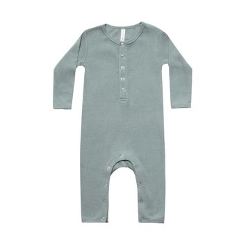 Quincy Mae: Ribbed Baby Jumpsuit (Sea)